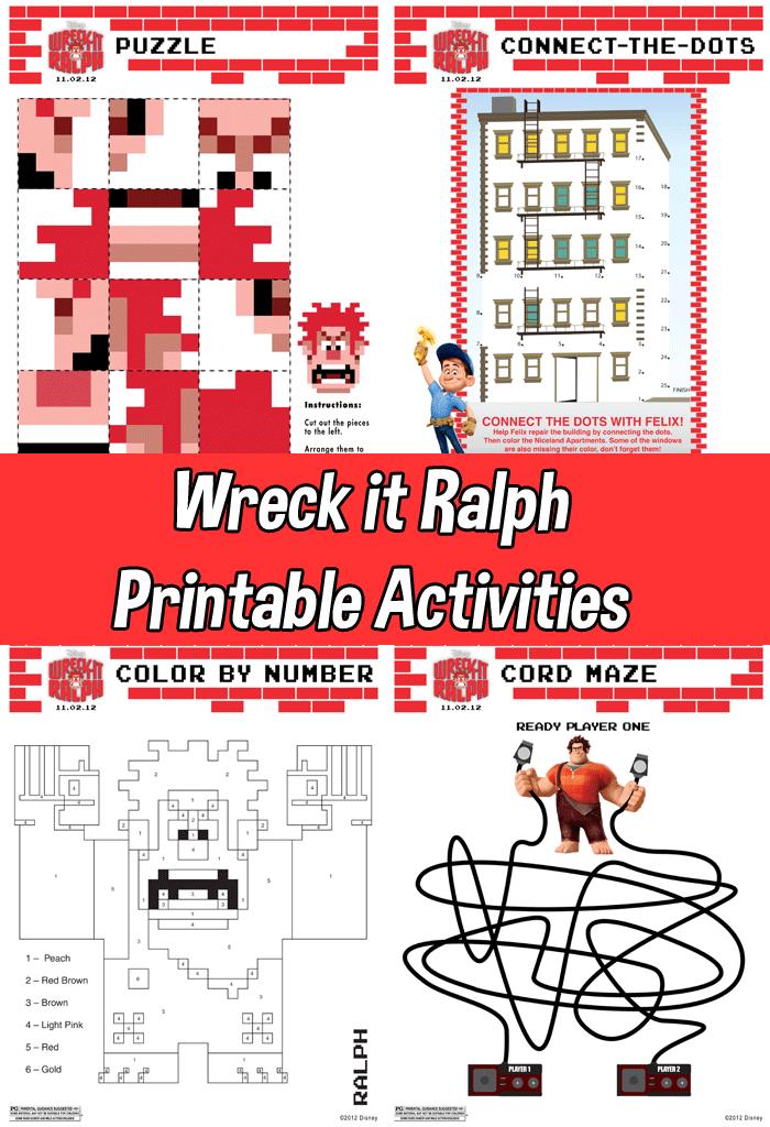 Wreck it Ralph Printable Activities