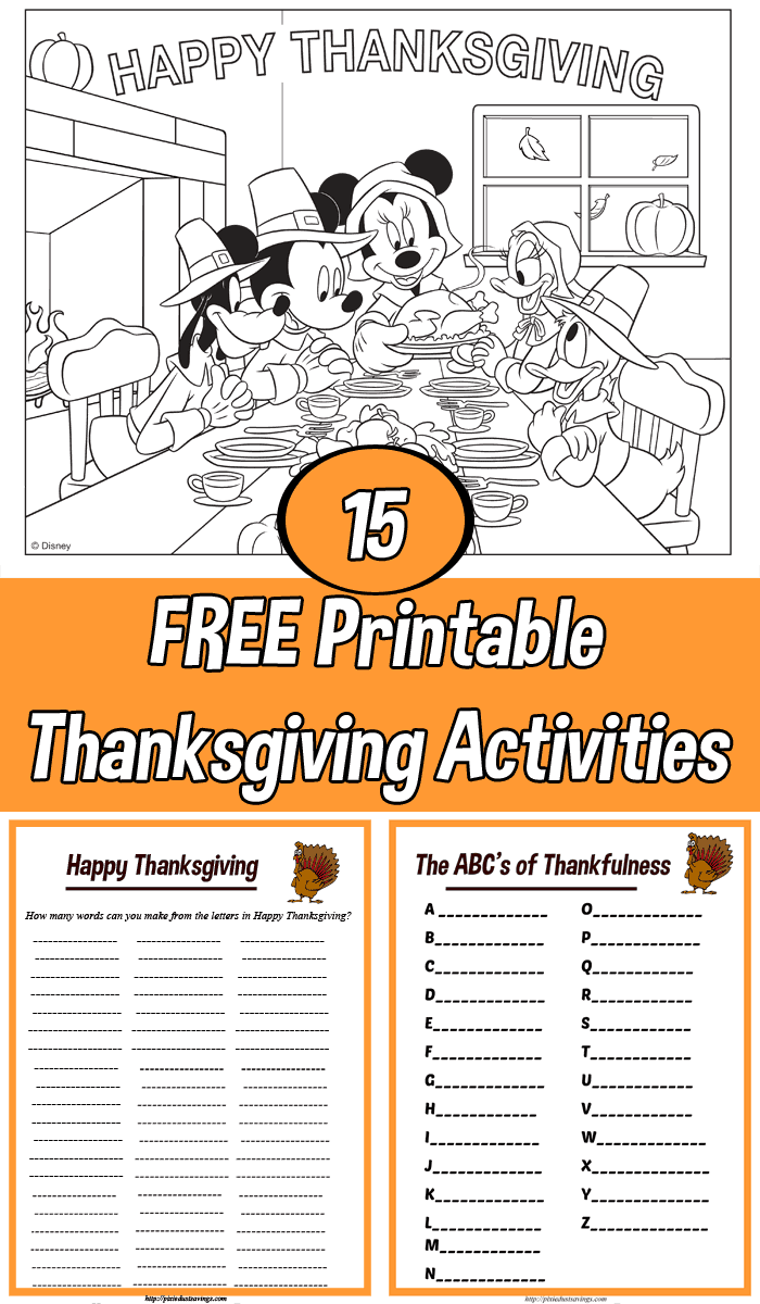 Fun Thanksgiving Printable Activities