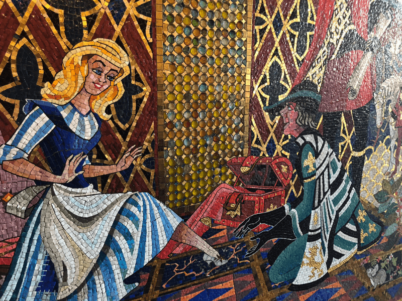 Glass slipper scene in the Cinderella Castle Mural