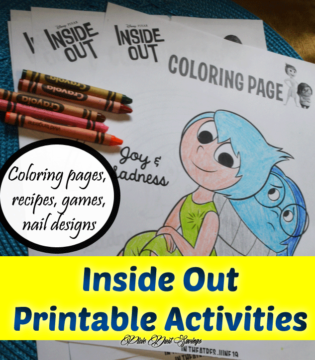 Inside Out 2015 Film: Inside Out Printable Activities