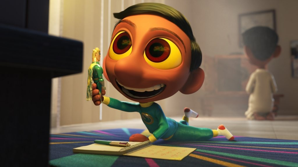 """Sanjay's Super Team"" Comes to the Con — Director Sanjay Patel and producer Nicole Grindle are taking Pixar Animation Studios' new short to San Diego's Comic-Con International next month for its North American premiere and a peek behind the scenes of the production process. The Super Story Behind the Pixar Short ""Sanjay's Super Team,"" slated for Thurs., July 9 at 11 a.m. in the Indigo Ballroom, Hilton Bayfront, reveals the unique inspiration for this incredibly personal film that features superheroes like never before. The short debuts in U.S. theaters in front of Disney-Pixar's ""The Good Dinosaur"" on Nov. 25, 2015."