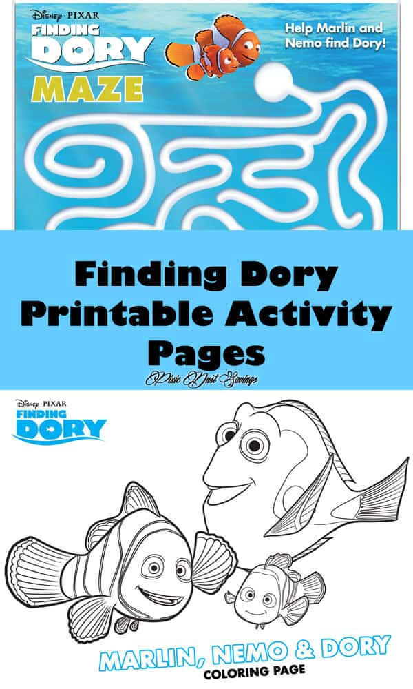 Finding Dory Printable Activity Pages