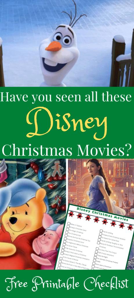 Disney Christmas Movies with Olaf, Pooh, Printable list image