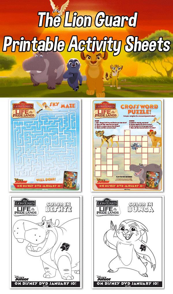 Lion Guard Printable Activity Sheets