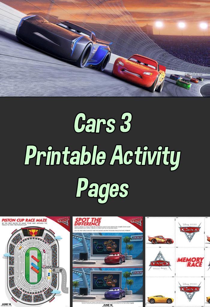 Cars 3 Printable Activity Sheets