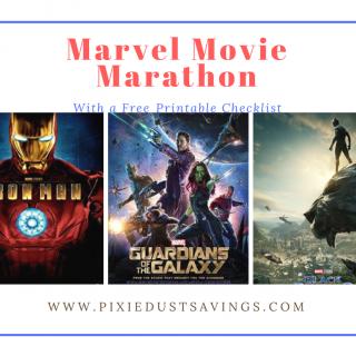 Marvel Movie Marathon with Free Printable Checklist