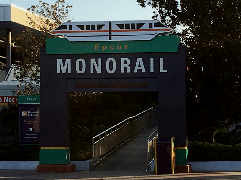 Epcot Monorail Entrance at the ticket and transportation center