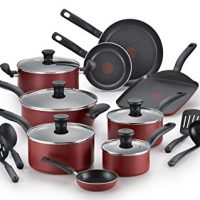 T-fal Cookware Set, Nonstick Cookware Set, 18 Piece, Red