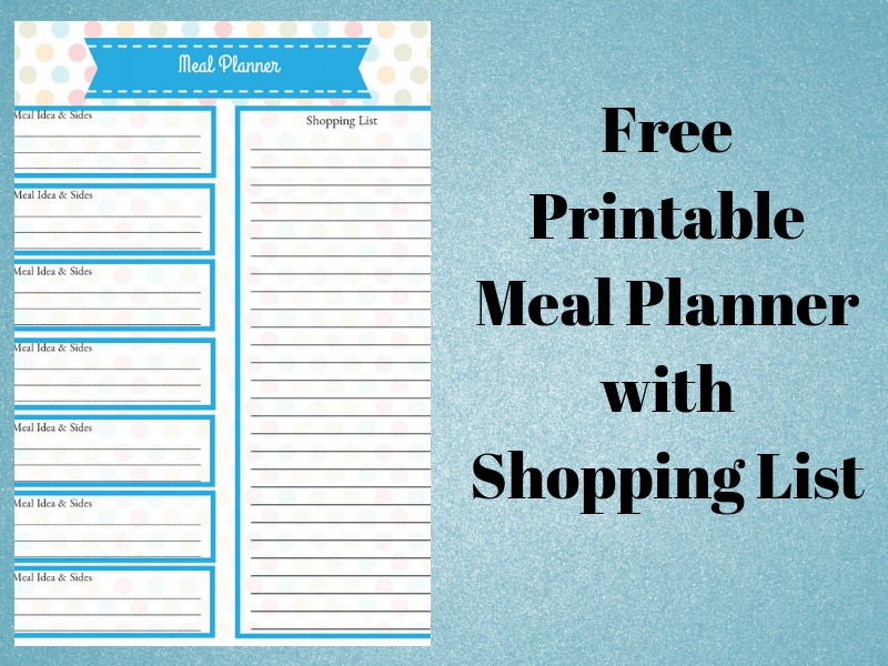 free printable meal planner with shopping list