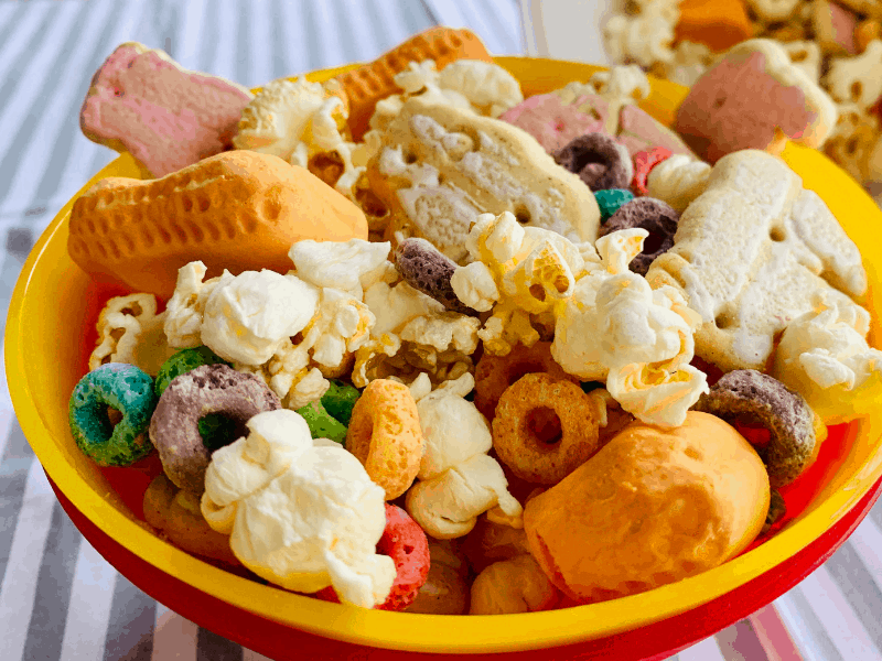 Dumbo Inspired Snack Mix in red and yellow bowls