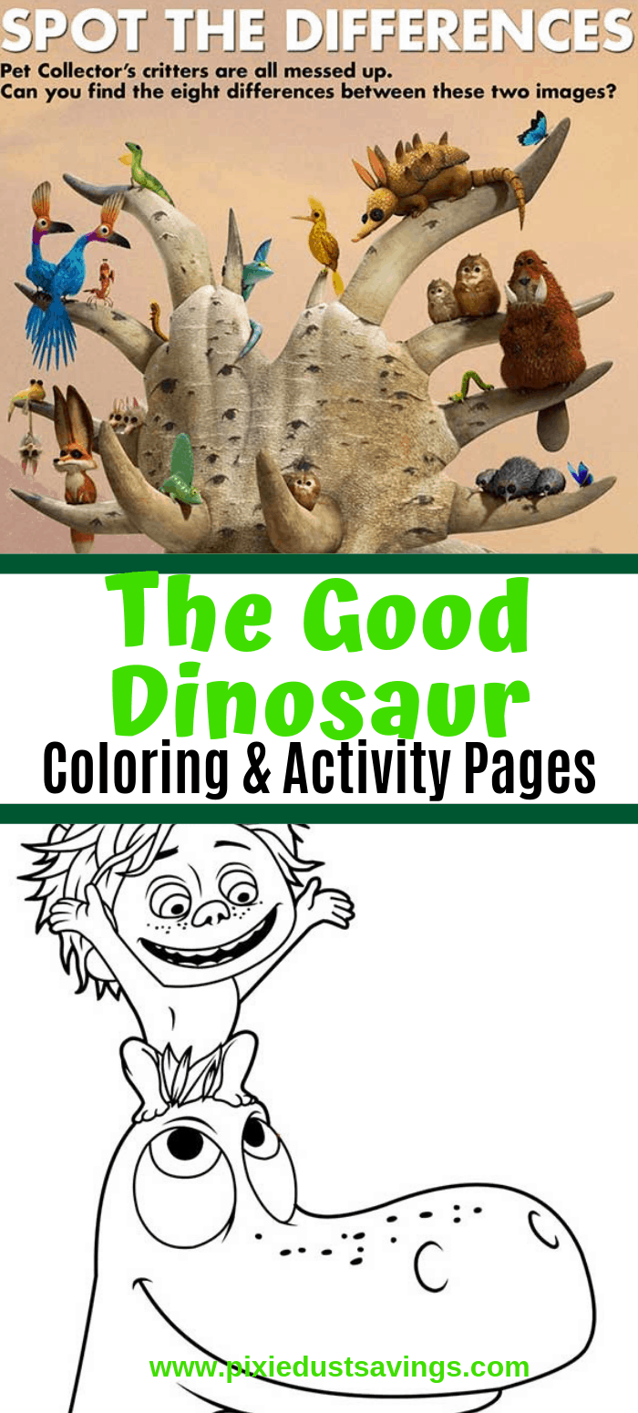 The Good Dinosaur Printable Coloring and Activity Pages- spot the difference