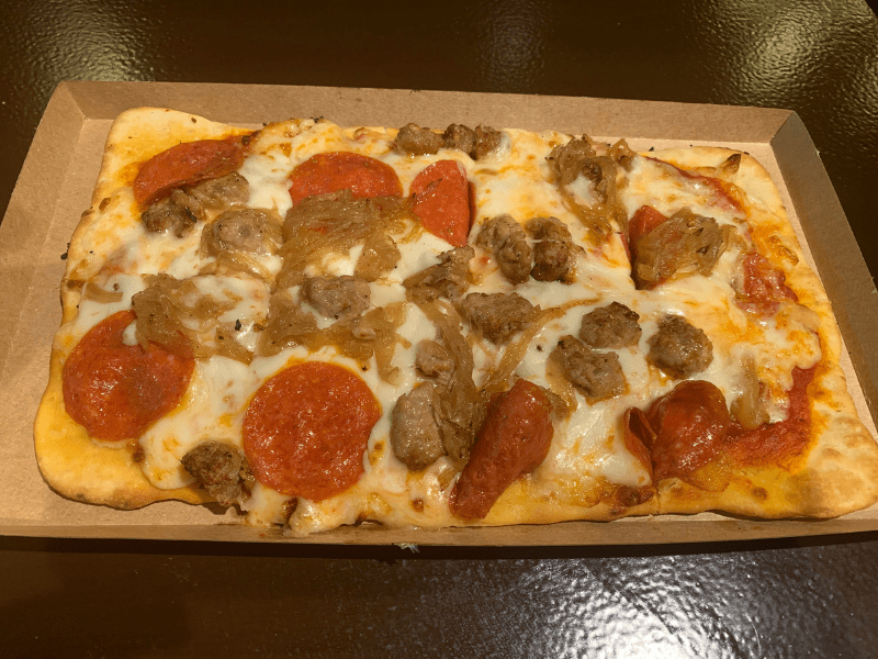 Pepperoni, Sausage, and caramelized onion Flatbread at the Roaring Fork