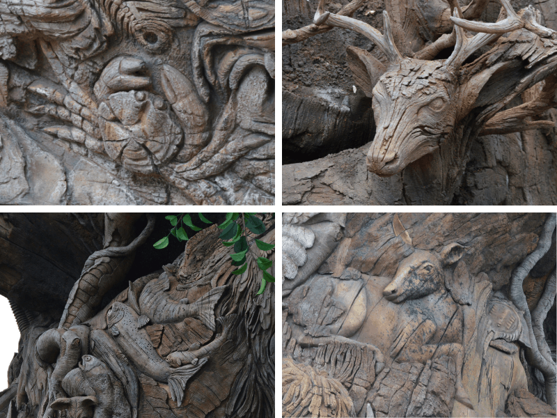 Some of the Tree of Life Animal Carvings
