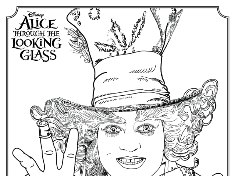 Alice Through the Looking Glass Mad Hatter Coloring Page