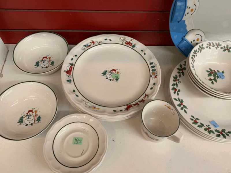Christmas Dishes at the thrift store