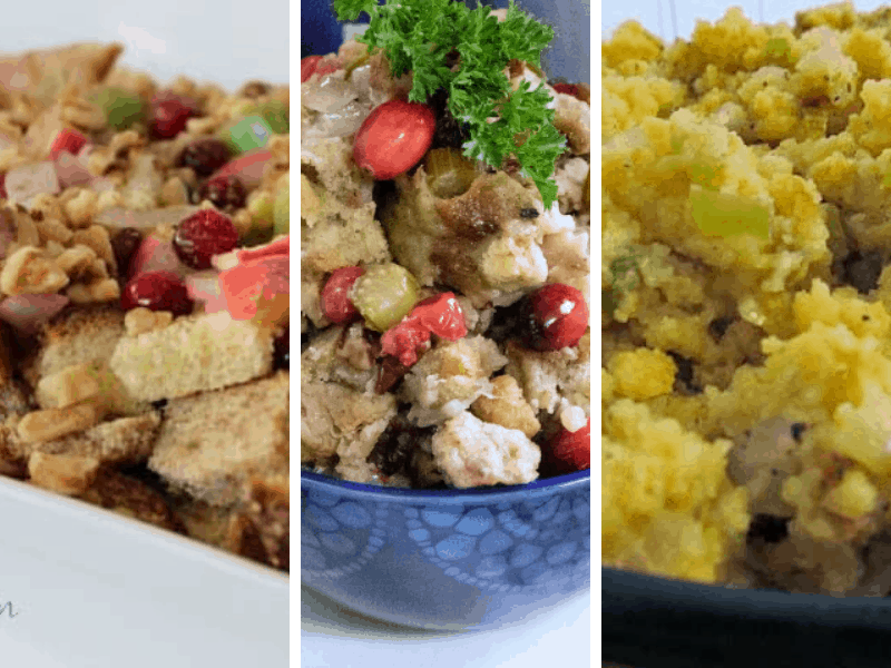 Picture of 3 different stuffing recipes featured in this post