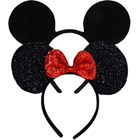 Set 2 FANYITY Mouse Ears Red Sparkled Headband