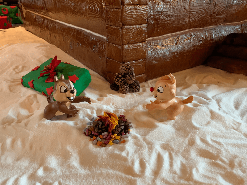 Chip and Dale at the bottom of Wilderness Lodge Gingerbread House