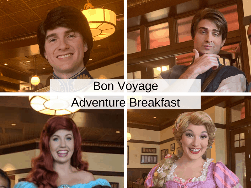 Bon Voyage Adventure Breakfast Characers - Prince Eric, Flynn Rider, Ariel, and Rapunzel