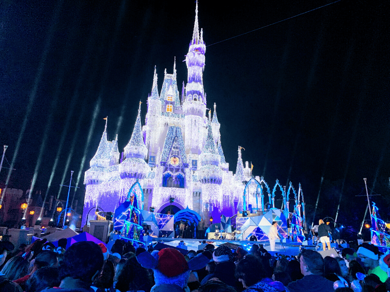 Cinderella Castle Lit Up with Holiday Parade Taping Stage