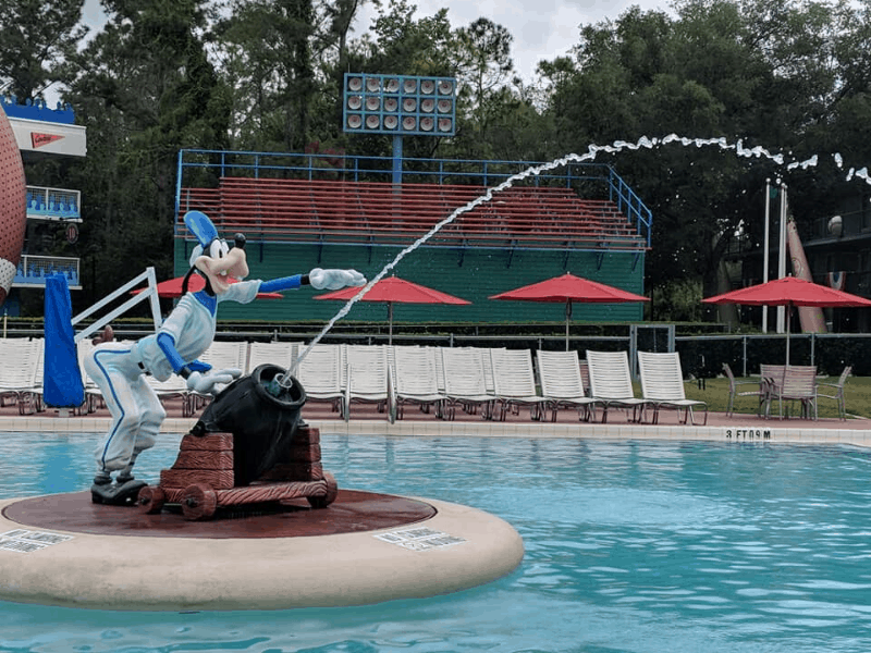 Goofy statue at pool