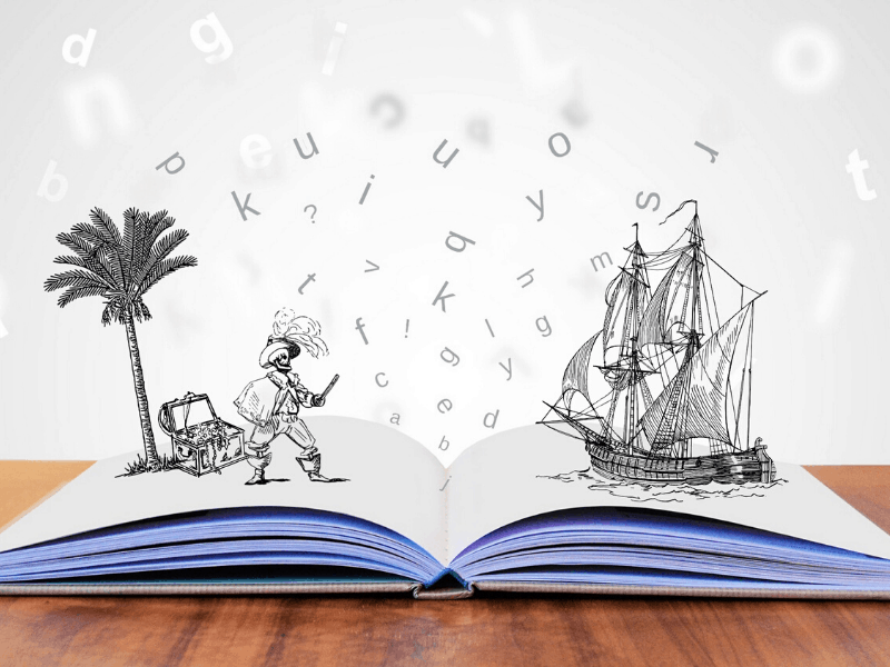 Open book with a pirate story leaping out of it