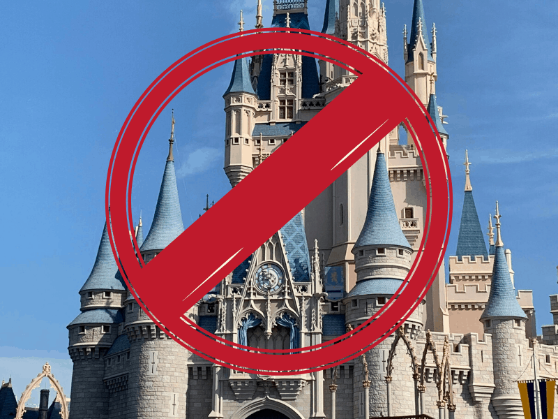 Disney castle with a No Sign