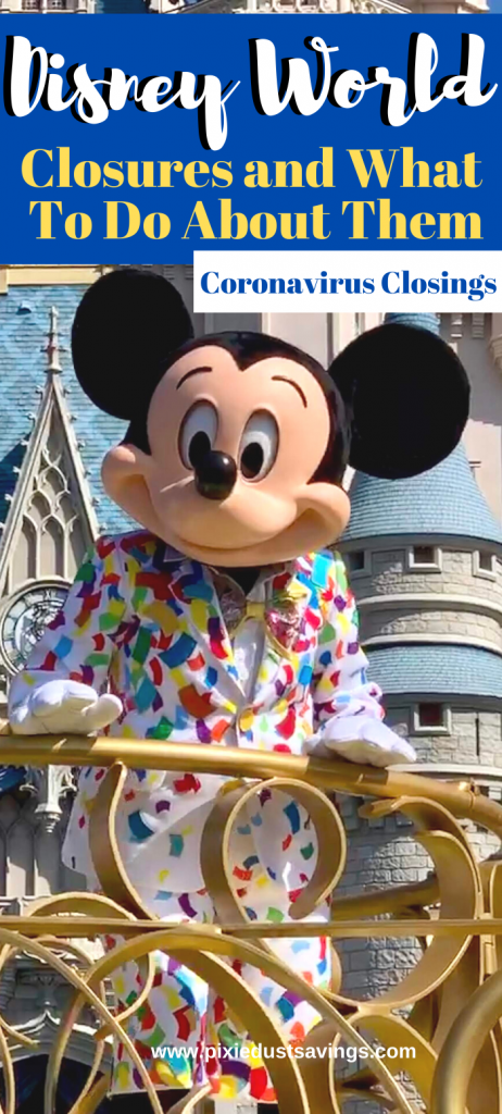 Mickey Mouse with castle background Disney Closure text