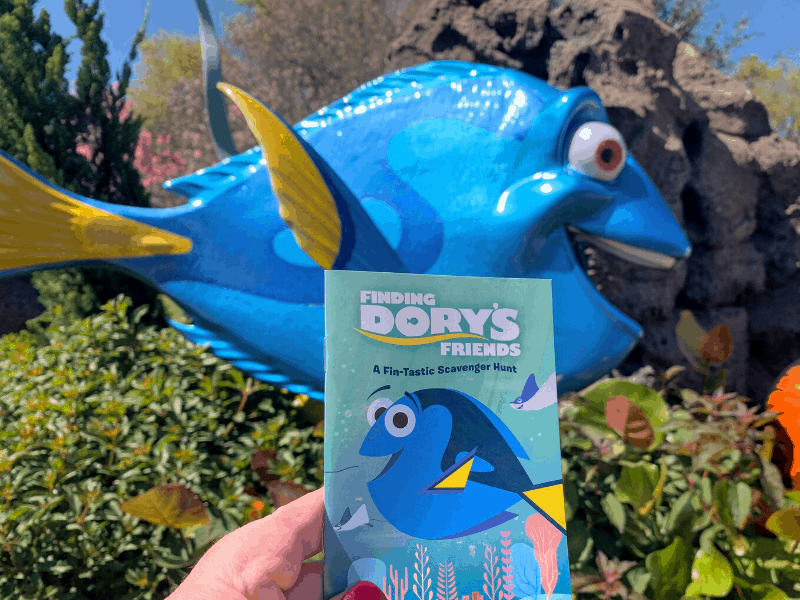 Finding Dory Scavenger Hunt Booklet with Dory in background