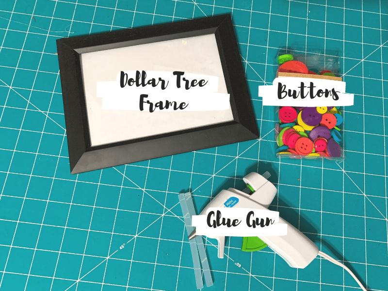 Hidden Mickey Button Frame Craft Materials, picture frame, buttons, glue gun with glue sticks