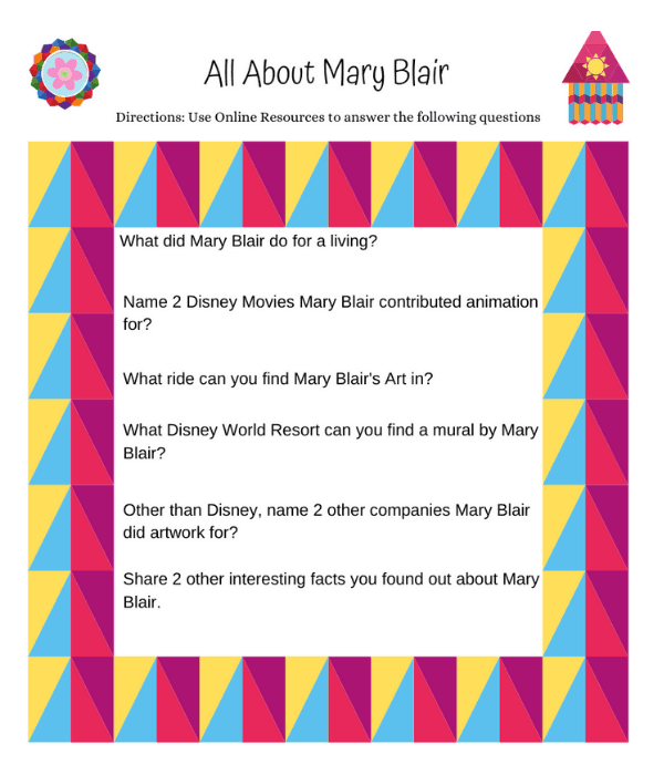 Mary Blair Worksheet image