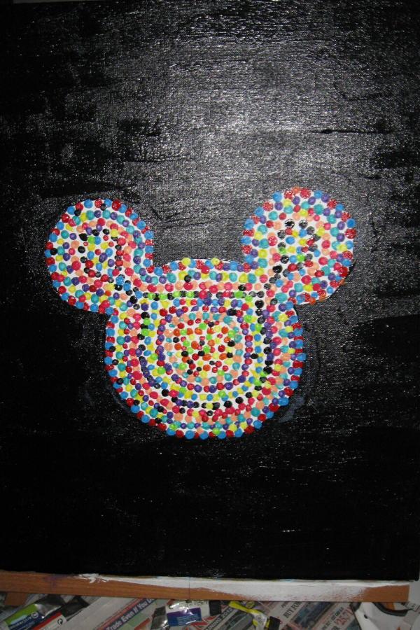 Mickey Qtip art with black background