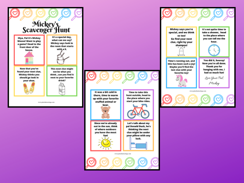 Image of printable scavenger hunt pages on purple background