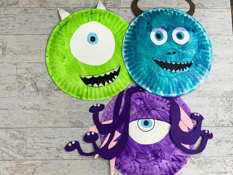 Paper Plate models of Mike, Sulley, and Celia