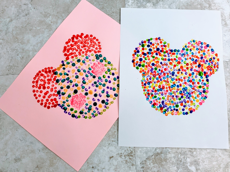 2 Mickey Mouse Q-tip art pieces
