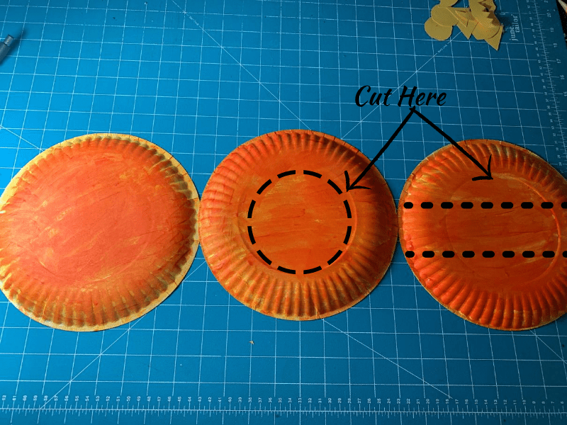 3 orange paper plates, round dotted line on middle one, 2 dotted lines on 3rd one