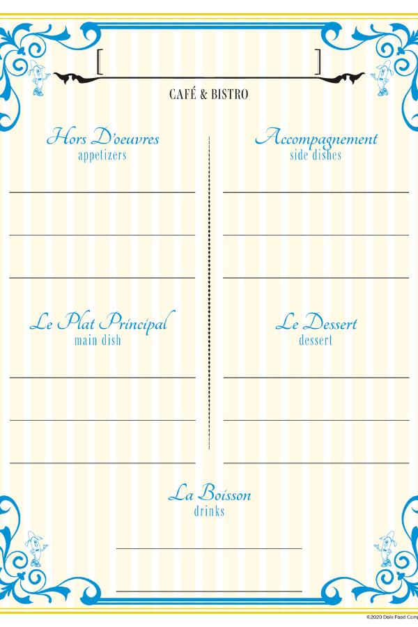 printable cafe menu
