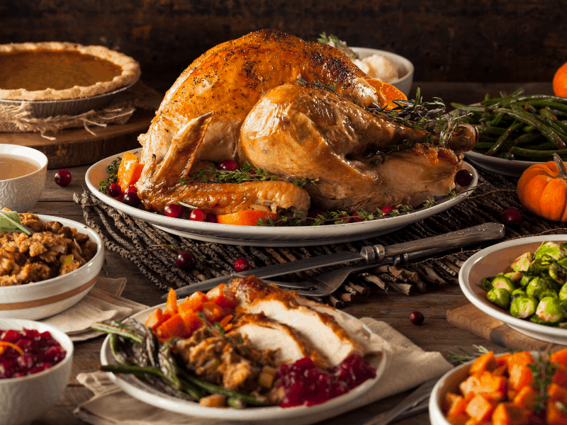 Turkey and sides for Thanksgiving Dinner