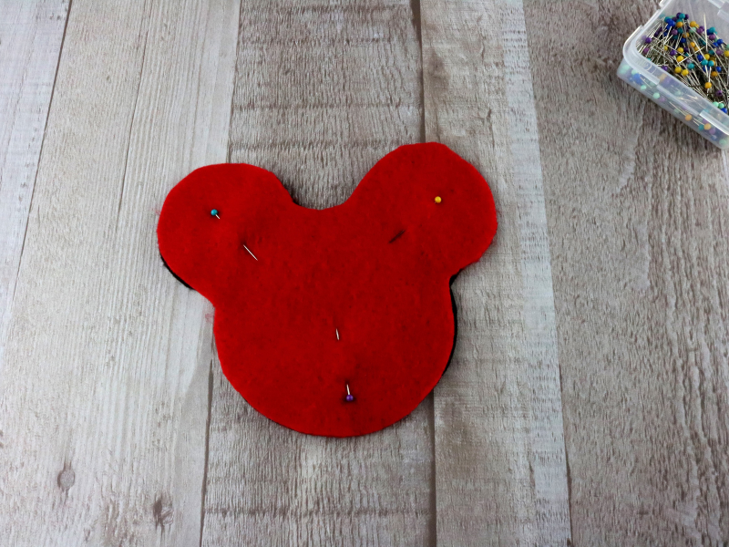 red and black felt mickey heads pinned together