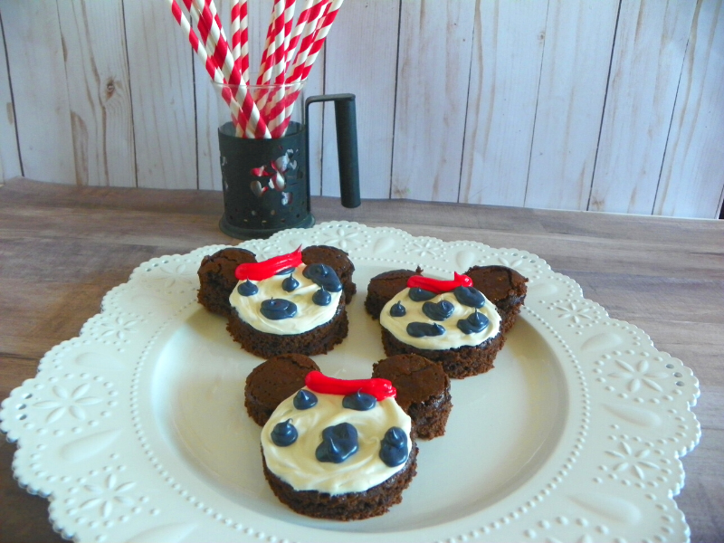 101 Dalmatians Inspired Brownies on white plate