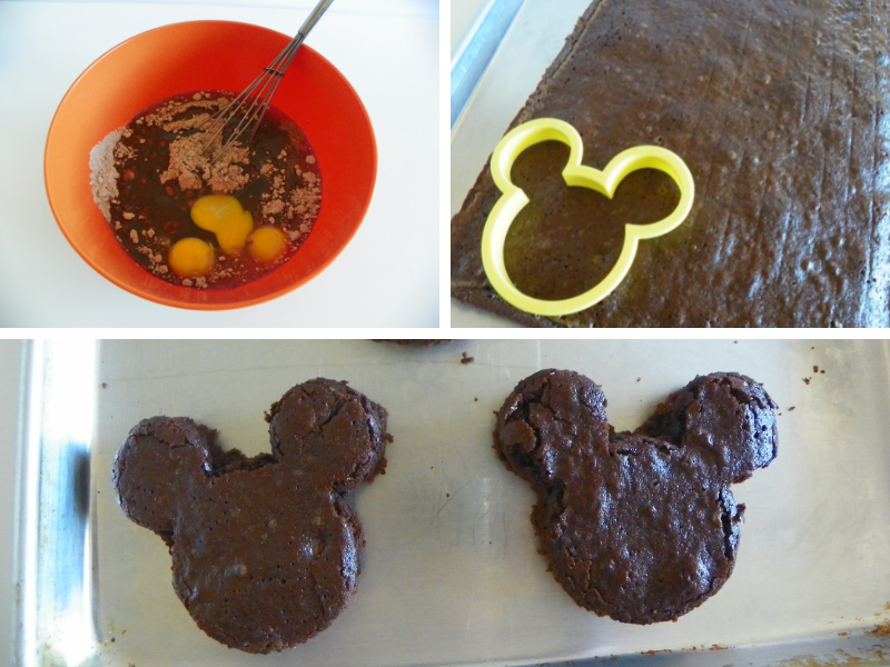 Brownie mix being mixed, mickey mouse head cutting brownies and cut out mickey head shaped brownie
