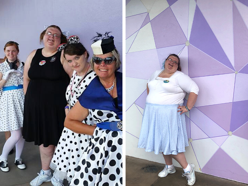 Plain purple wall with 4 ladies in black & white dress, and April in front of geometric purple wall