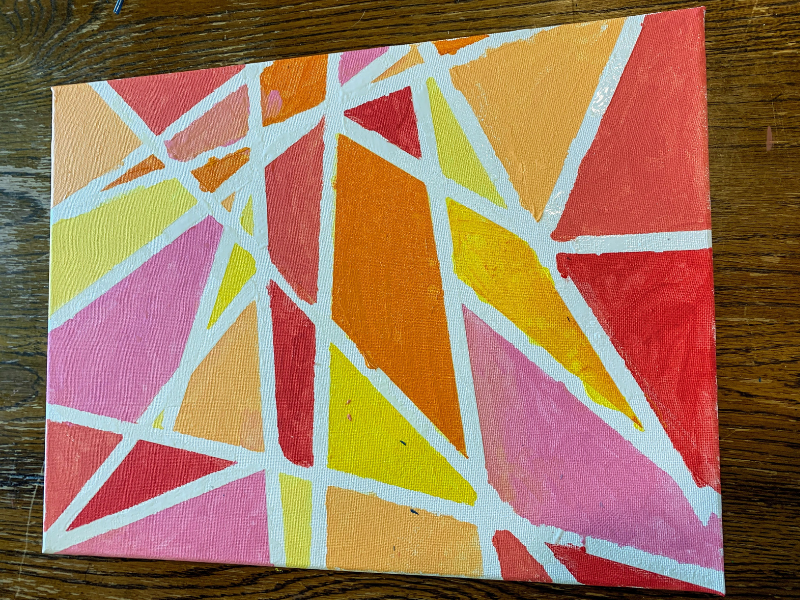 Disney's Purple Wall Inspired Art -  shapes of red, yellow, orange painted on white canvas